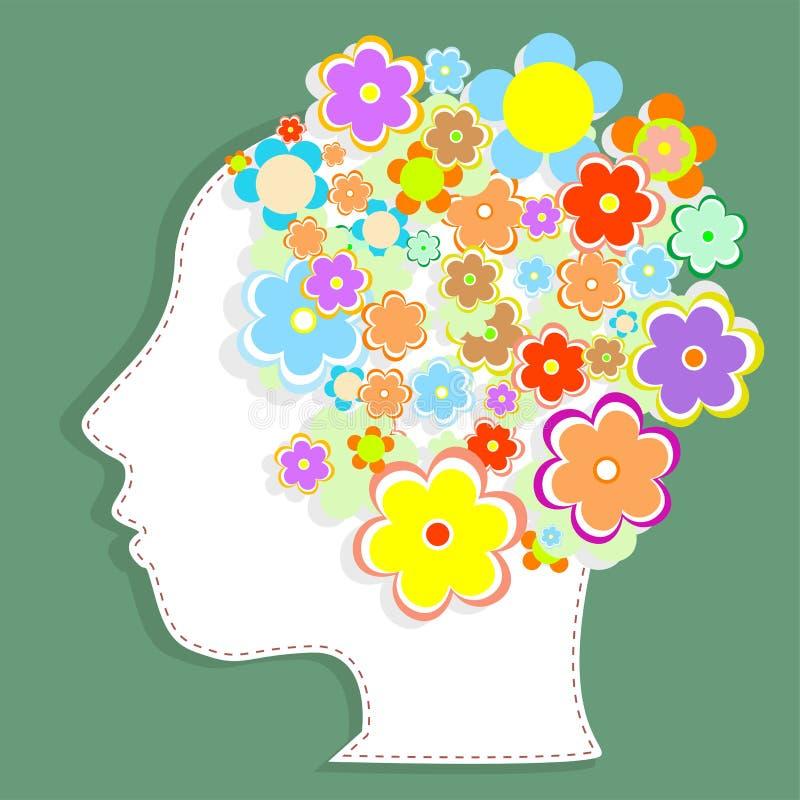 Silhouettekvinna huvud som fylls med gulliga blommor stock illustrationer