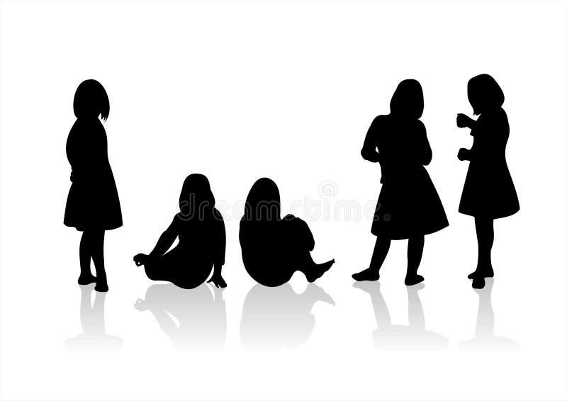 Silhouetten 10 van kinderen royalty-vrije illustratie