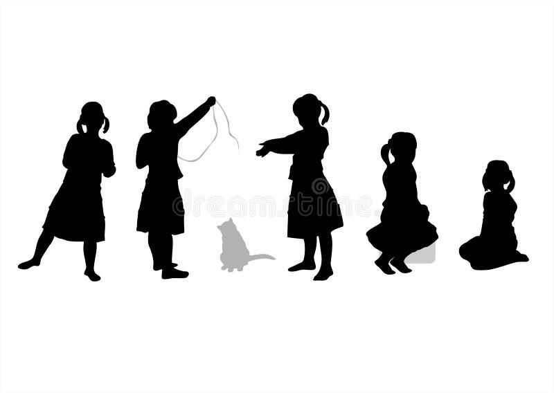Silhouetten 5 van kinderen stock illustratie