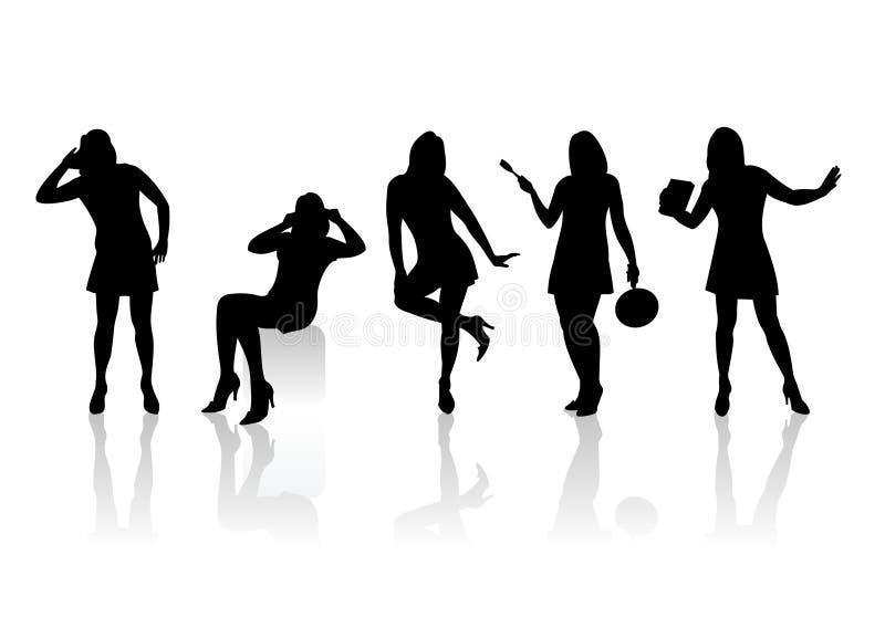 Silhouetten 7 van vrouwen stock illustratie