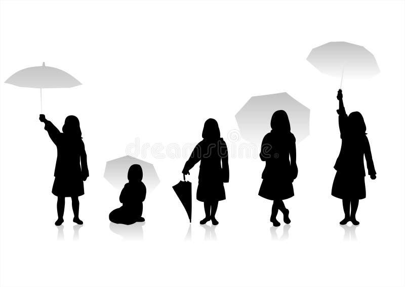 Silhouetten 8 van kinderen royalty-vrije illustratie