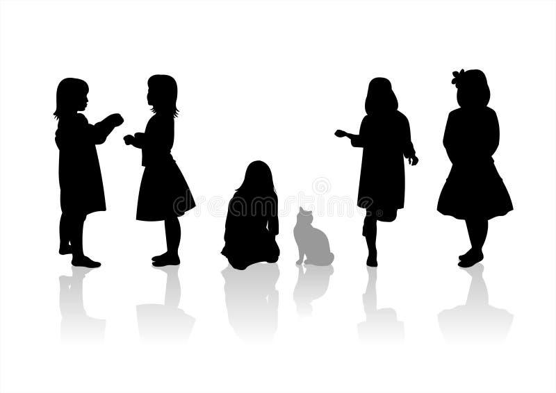 Silhouetten 9 van kinderen royalty-vrije illustratie