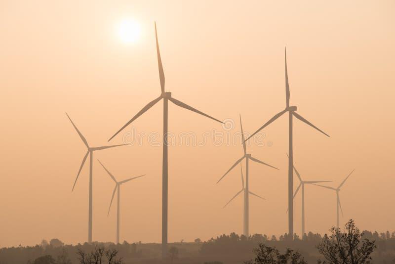 Silhouetten av lindar turbiner på solnedgången arkivfoton