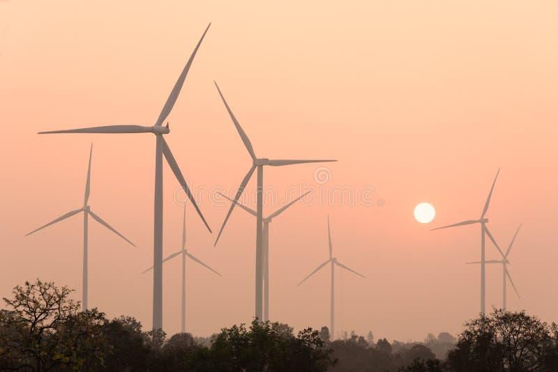 Silhouetten av lindar turbiner på solnedgången royaltyfri foto