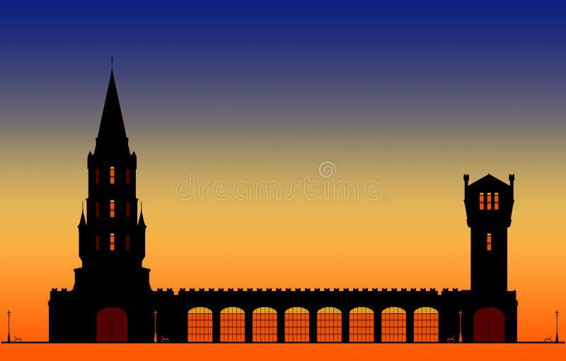 Silhouetten des Stadtturms am blauen Himmel und orangefarbener Sonnenuntergang mit Platz für Text stock abbildung