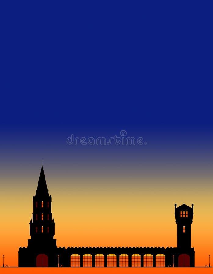 Silhouetten des Stadtturms am blauen Himmel und orangefarbener Sonnenuntergang mit Platz für Text lizenzfreie abbildung