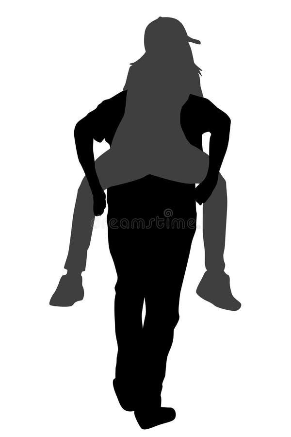 Silhouetten die van jong mannetje zijn meisjevervoer per kangoeroewagen dragen vector illustratie