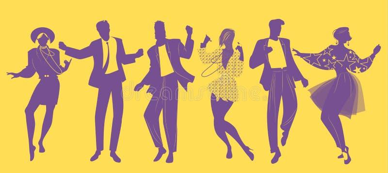 Silhouetten die van mensen het dansen nieuwe golfmuziek kleren in de stijl van de jaren '80 dragen royalty-vrije illustratie