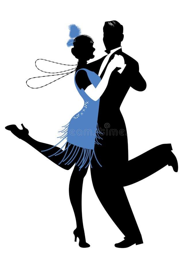 Silhouetten die van paar kleren in de stijl van de jaren '20 dansend Charleston dragen stock illustratie