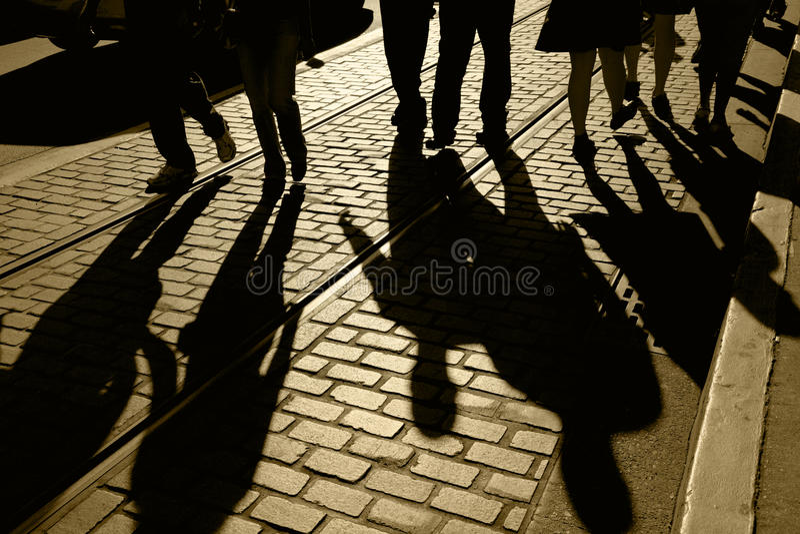 Silhouetten en Schaduwen van Mensen stock fotografie