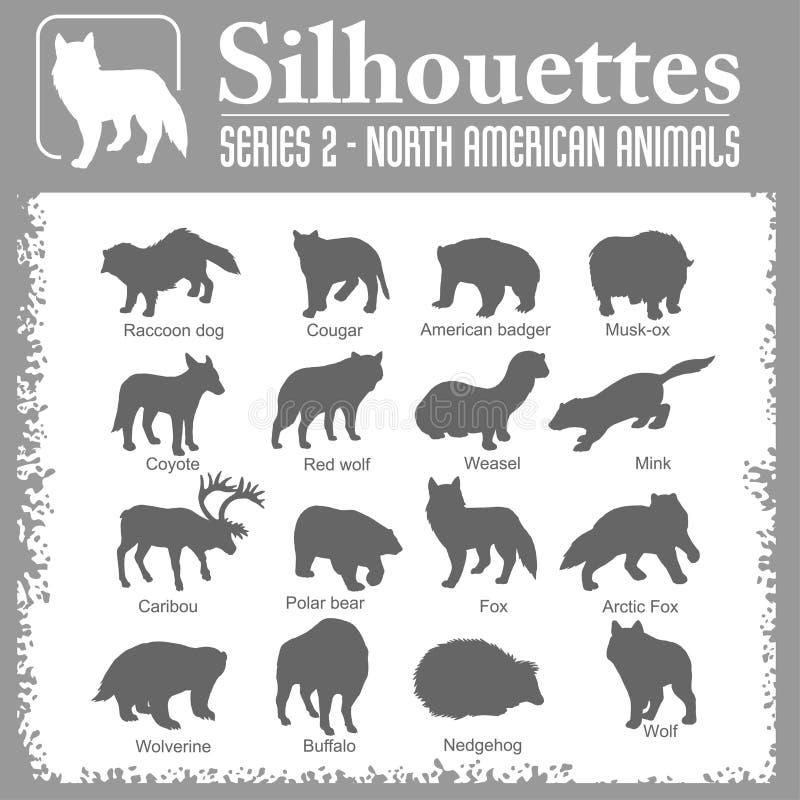 Silhouetten - Noordamerikaanse dieren vector illustratie