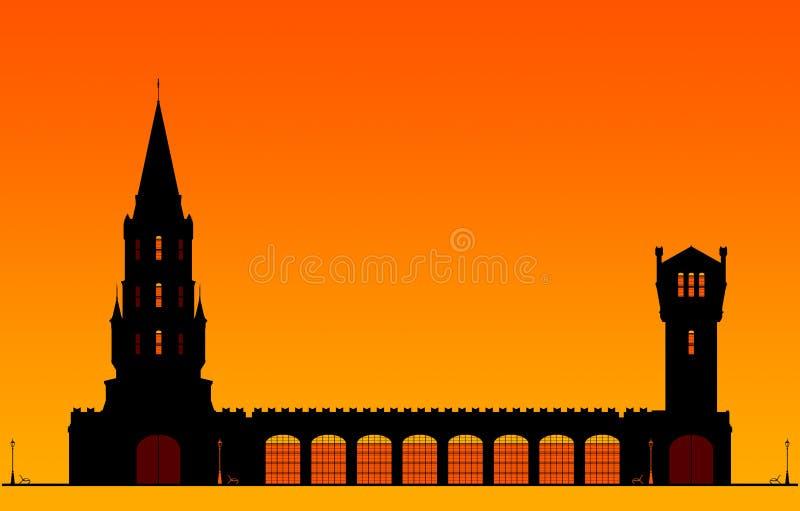 Silhouetten Turm am orangefarbenen Himmel mit Platz für Text stock abbildung