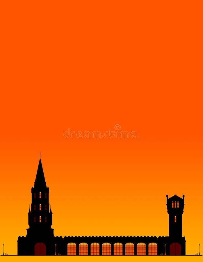 Silhouetten Turm am orangefarbenen Himmel mit Platz für Text lizenzfreie abbildung