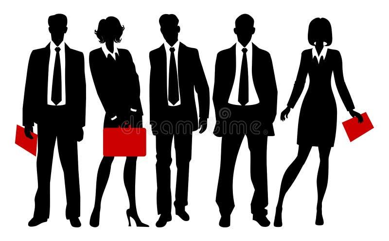Silhouetten van bedrijfsmensen royalty-vrije illustratie