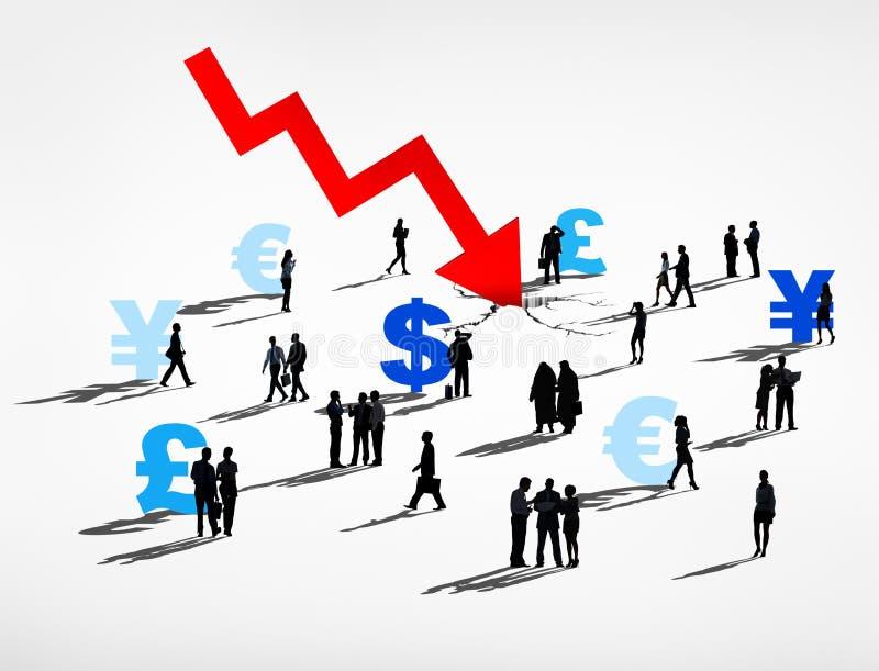 Silhouetten van Bedrijfsmensen Financiële Recessie vector illustratie