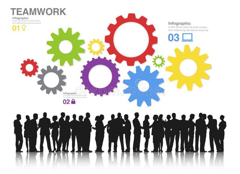 Silhouetten van Bedrijfsmensen het Werken en Toestellen stock illustratie
