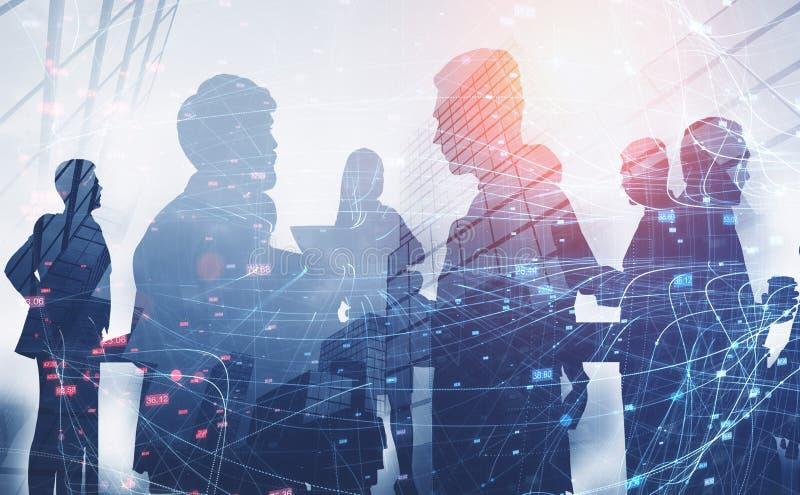 Silhouetten van bedrijfsmensen, netwerk stock illustratie