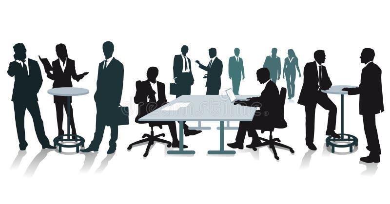 Silhouetten van bedrijfsmensen op het kantoor stock afbeelding