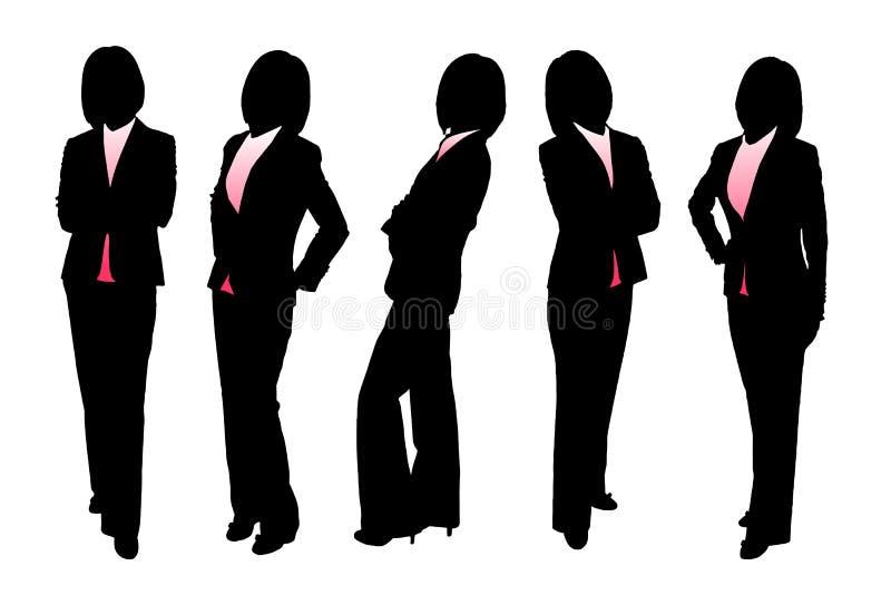 Silhouetten van Bedrijfsvrouw royalty-vrije illustratie