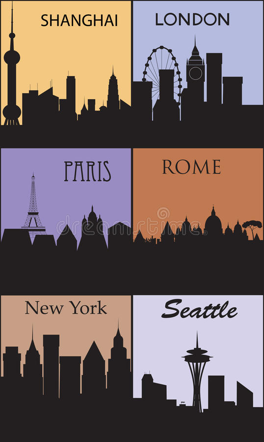 Silhouetten van beroemde steden. royalty-vrije illustratie