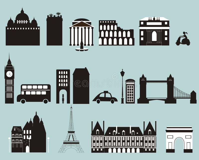 Silhouetten van beroemde steden. stock illustratie