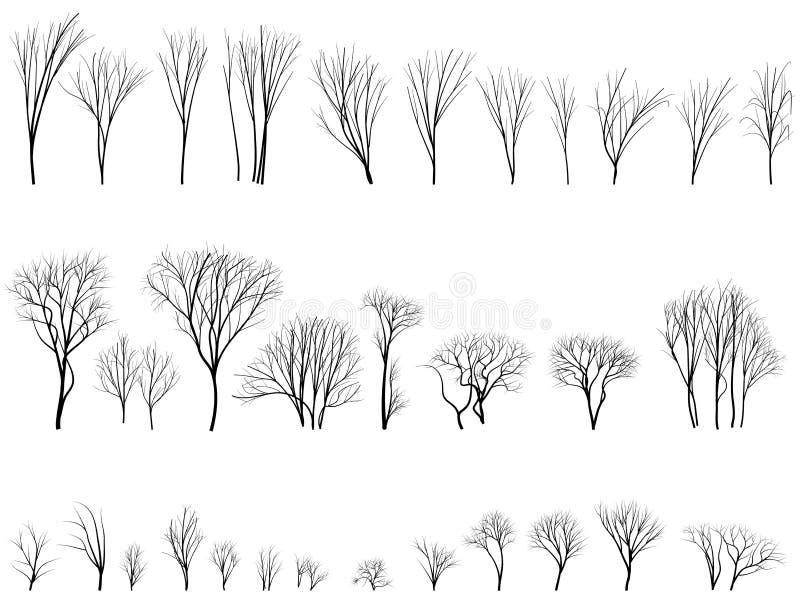 Silhouetten van bomen en struiken zonder bladeren. royalty-vrije illustratie