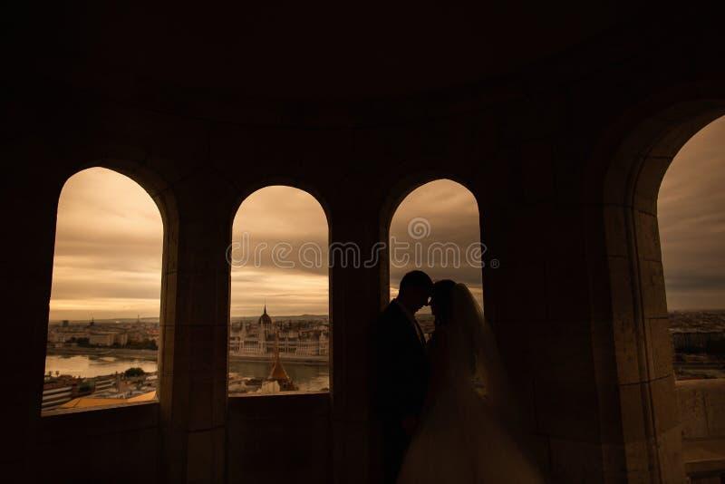 Silhouetten van bruid en bruidegom die zich op de achtergrond van de nachtstad bevinden en teder elkaar zonsondergang bekijken stock fotografie