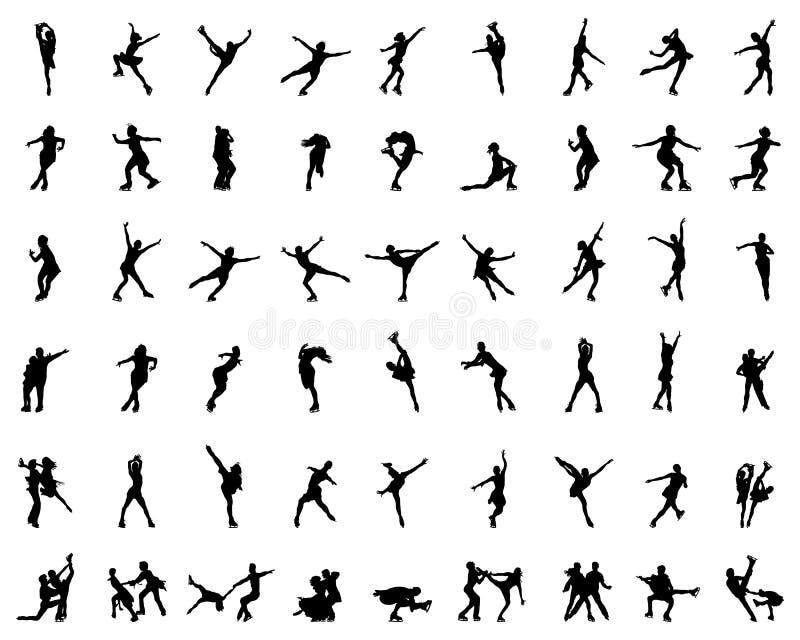 Silhouetten van cijferschaatsers royalty-vrije illustratie