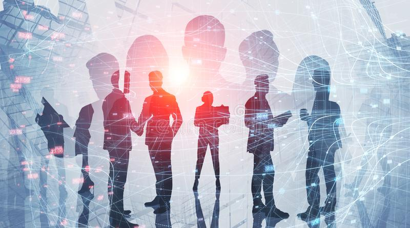 Silhouetten van commercieel team, netwerk royalty-vrije stock foto's