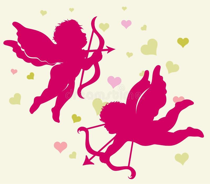 Silhouetten van Cupido voor de dag van de Valentijnskaart. stock illustratie