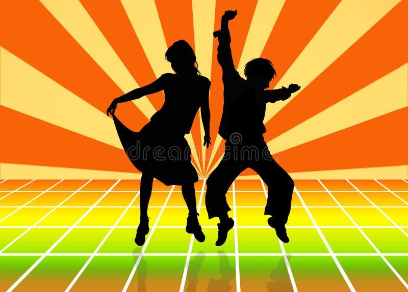 Silhouetten van dansend paar royalty-vrije illustratie