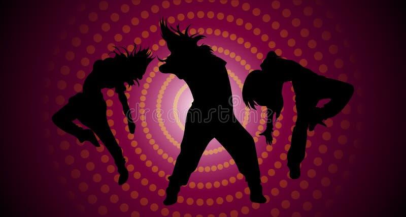 Silhouetten van dansende meisjes royalty-vrije illustratie