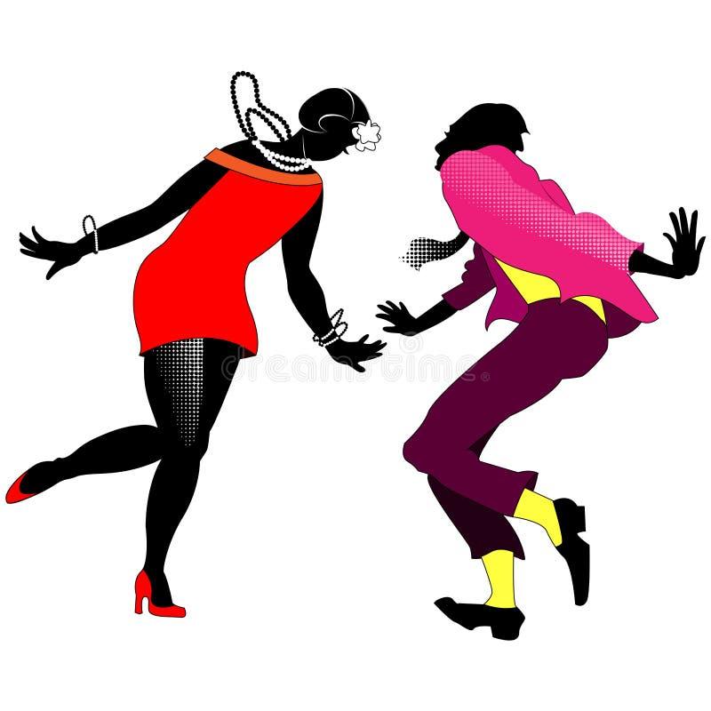 Silhouetten van dansende paren Charleston royalty-vrije illustratie