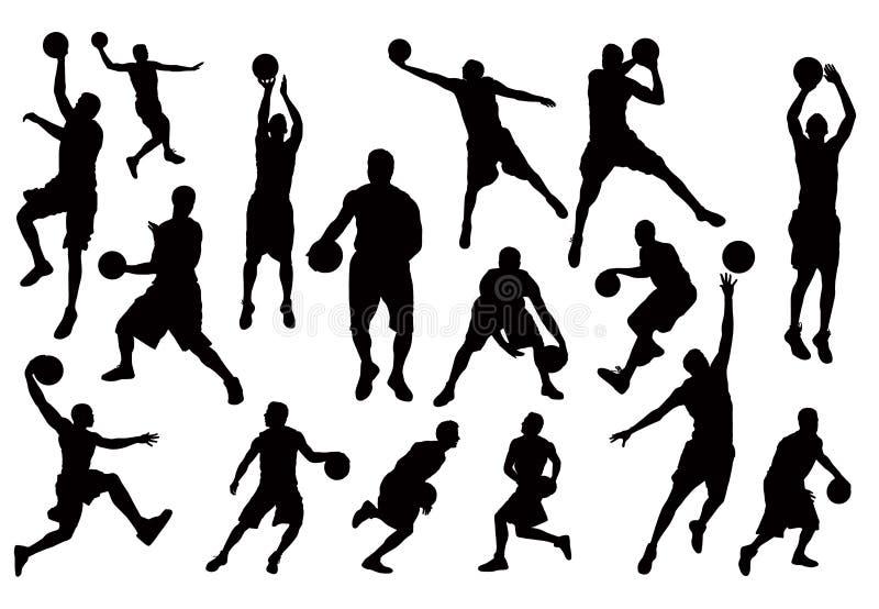Silhouetten van de Vector van de Spelers van het Basketbal vector illustratie