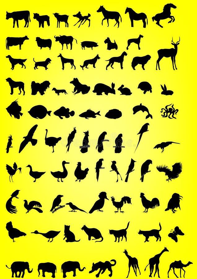 Silhouetten van dieren stock illustratie