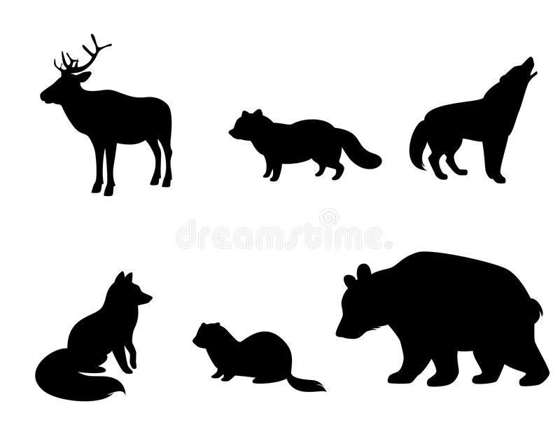 Silhouetten van dieren van toendra stock illustratie