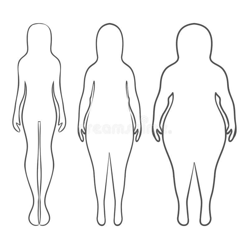 Silhouetten van dik en dunne vrouwen Vectorillustratie, hand D stock illustratie