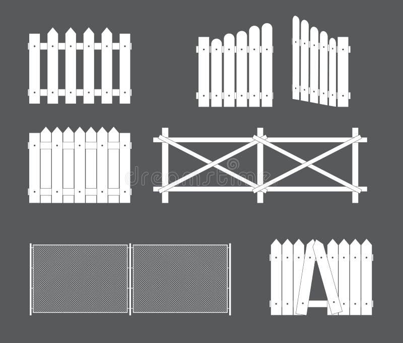 Silhouetten van diverse types van omheining, poort van hout, metaal Illustratie stock illustratie
