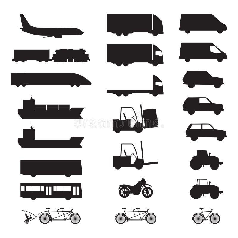 Silhouetten van diverse voertuigen stock afbeelding
