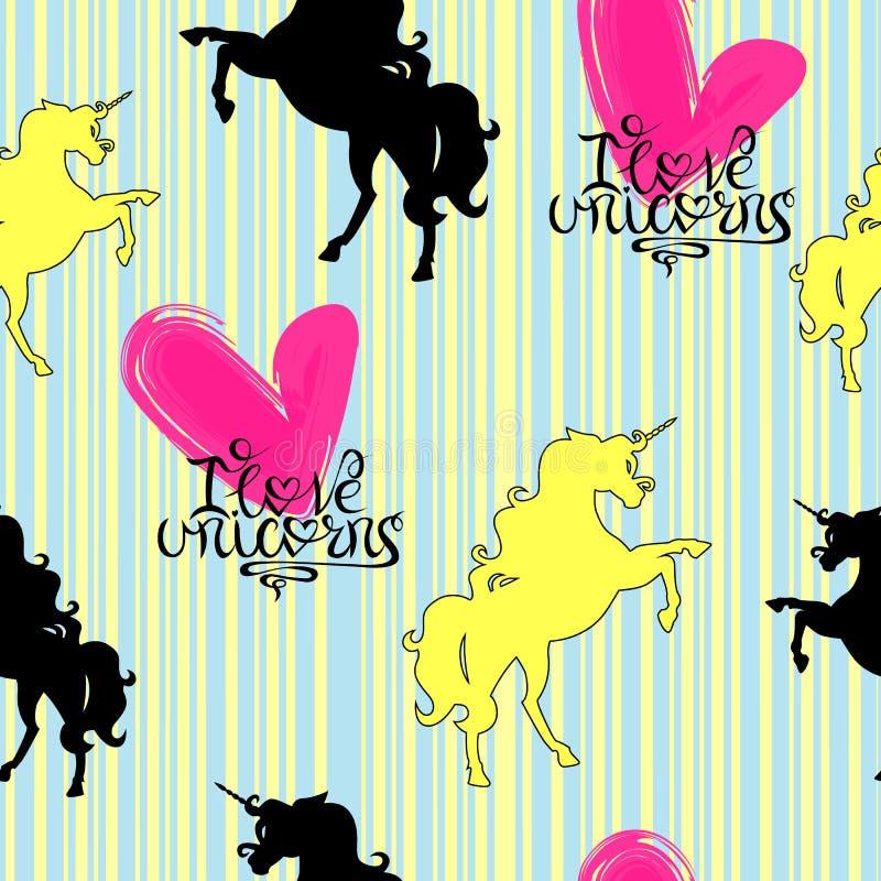 Silhouetten van eenhoorns geel en zwart met het van letters voorzien van op een gestreepte achtergrond naadloos patroon stock illustratie