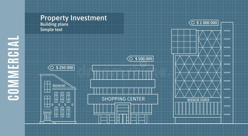 Silhouetten van gebouwen op het tekeningsdocument, Commercieel Real Estate Infographics royalty-vrije illustratie