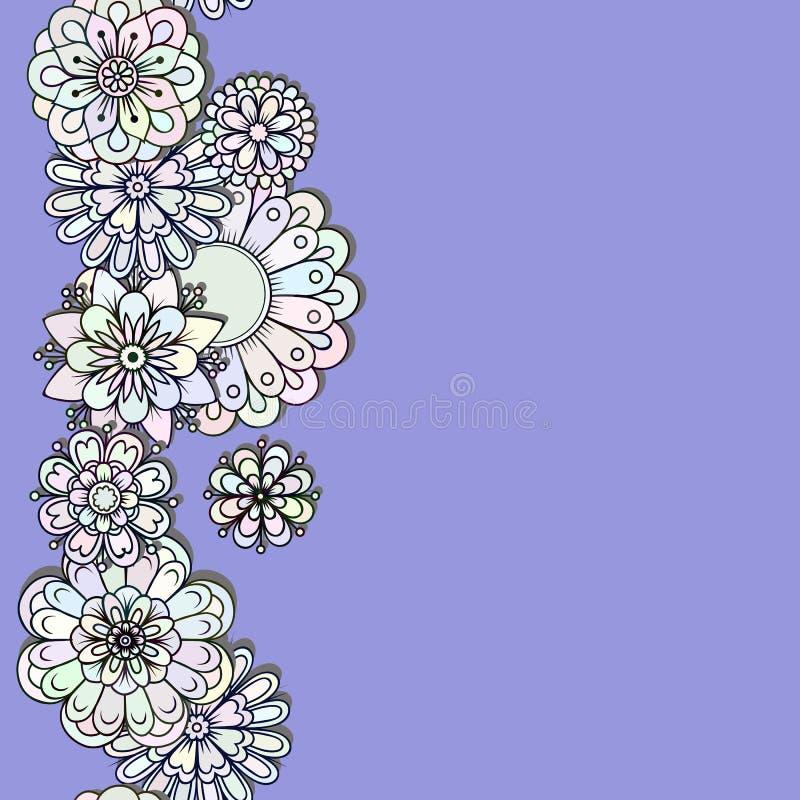 Silhouetten van gekleurde bloemen verticale streep stock illustratie