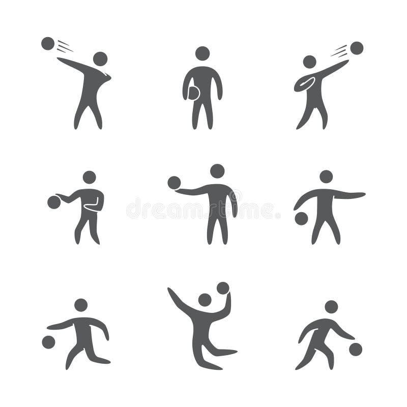 Silhouetten van geplaatste de spelerpictogrammen van het cijfersbasketbal vector illustratie