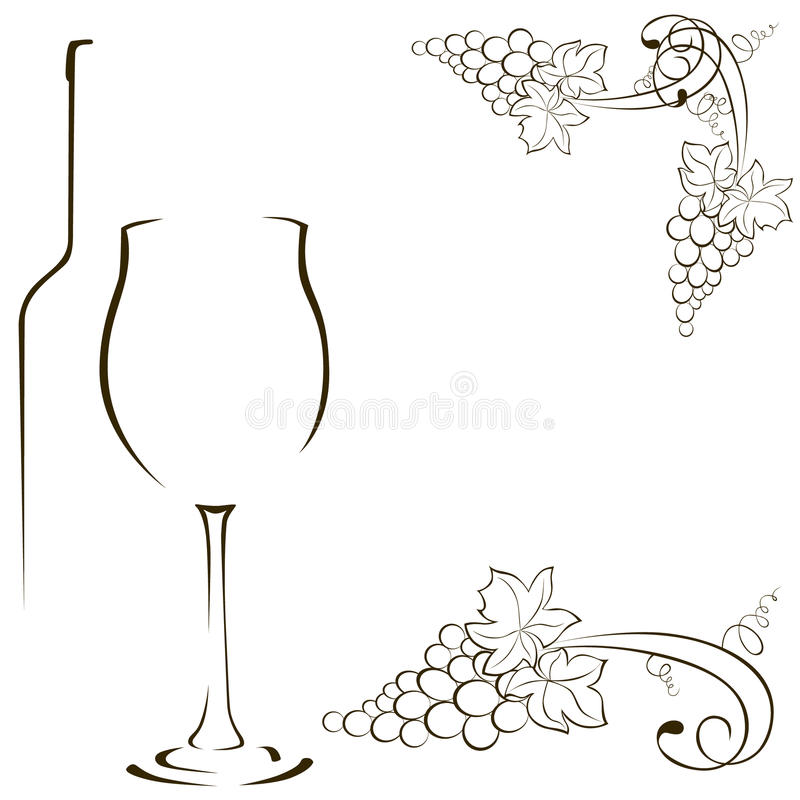 Silhouetten van glazen en flessen wijn Bos van druiven royalty-vrije illustratie