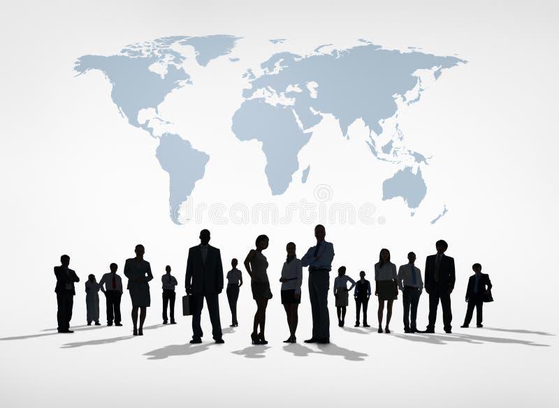 Silhouetten van Globale Bedrijfsmensen royalty-vrije stock afbeeldingen