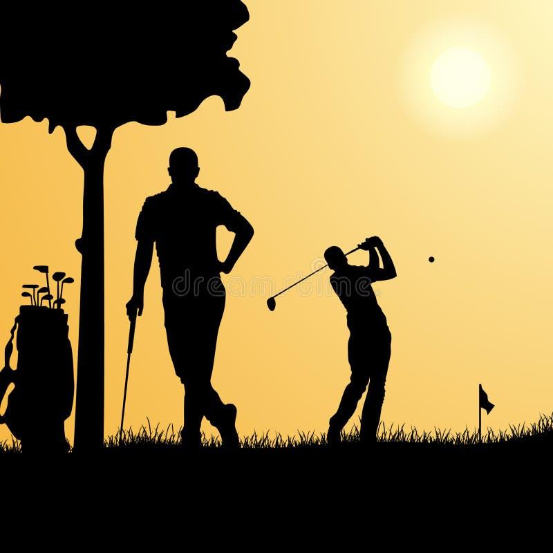Silhouetten van golfspelers op speelplaatsmalplaatje vector illustratie