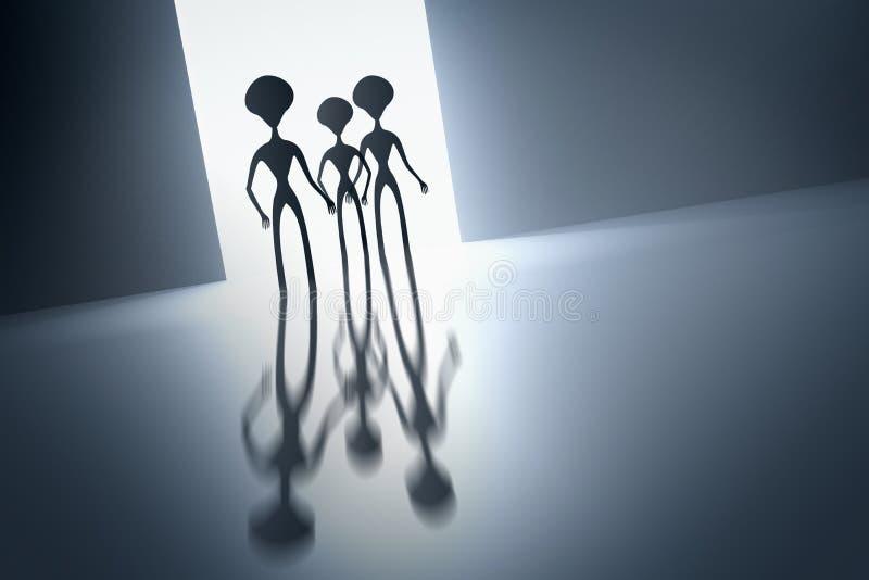 Silhouetten van griezelige vreemdelingen en helder licht achter hen stock illustratie