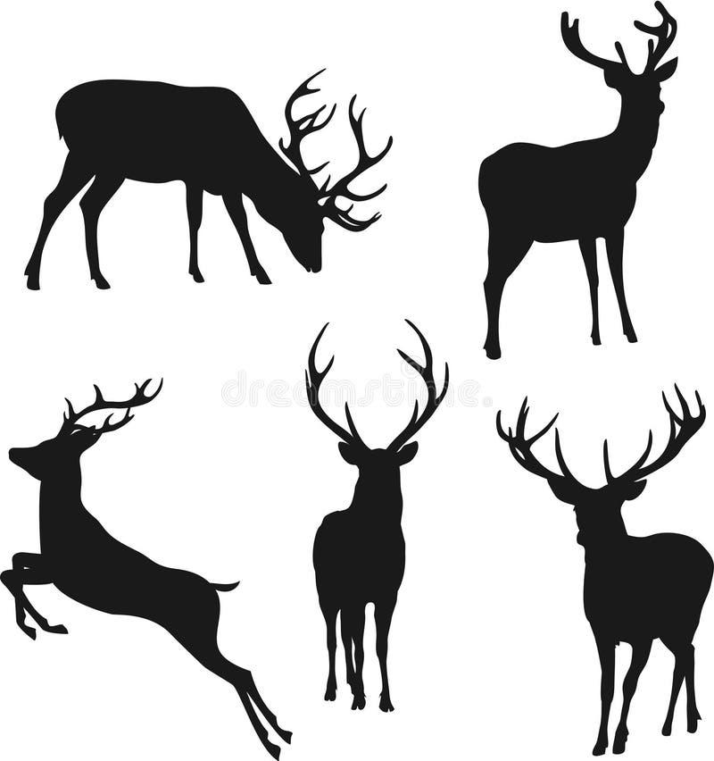 Silhouetten van herten vector illustratie