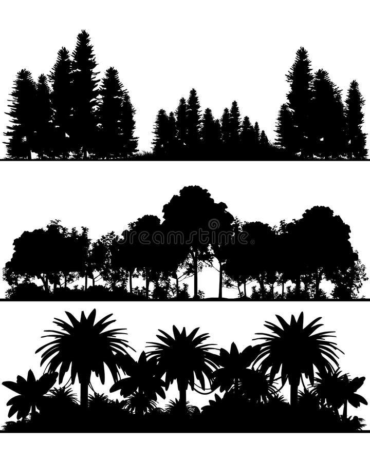 Silhouetten van het bos royalty-vrije illustratie