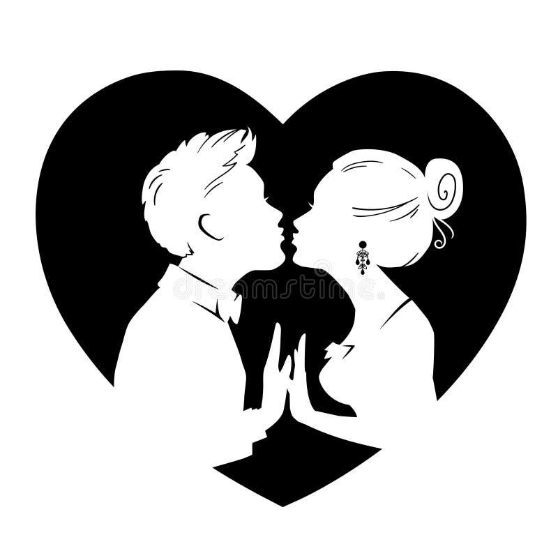 Silhouetten van het houden van van paar op achtergrond van groot hart De kerel en het meisje kussen Vectorkaart voor Valentijnska royalty-vrije illustratie